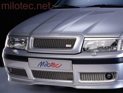 Třídílná mřížka nárazníku – černá, s mlhovkami, Škoda Octavia I. Facelift 2000-2005